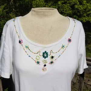 Pretty Beaded Scoop Neck Short Sleeve White Stag T